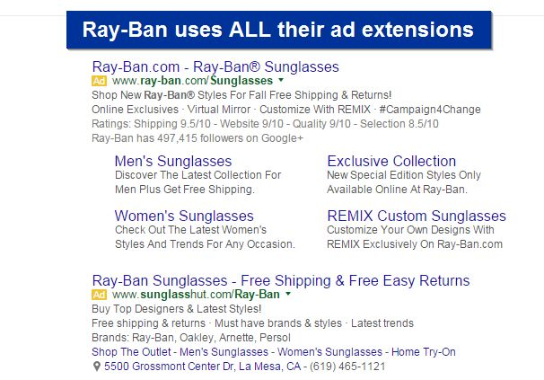 ad extensions for Ray-Ban