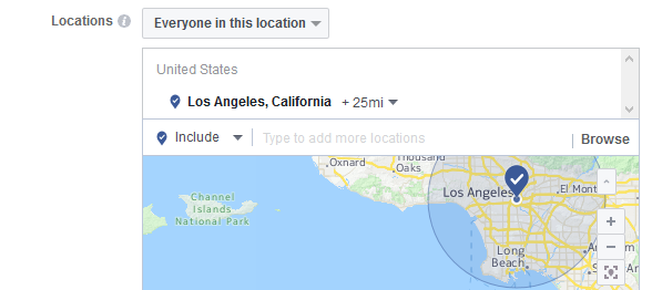 Choose the locations where you wish to have your ads delivered