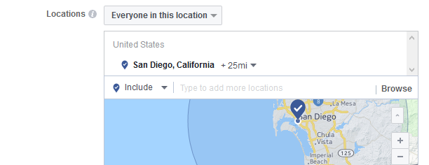 Choose the locations where you wish to have your Facebook Ads delivered