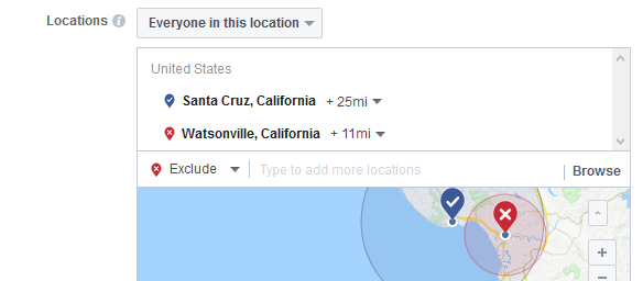 Choose the location for your Facebook Ads