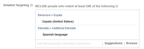 Choose the detailed targeting options for your Facebook Ads