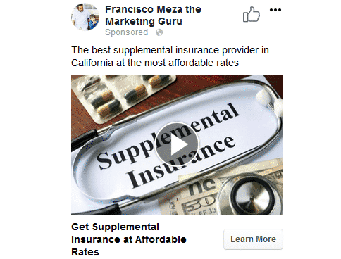 A preview of the Facebook Ad