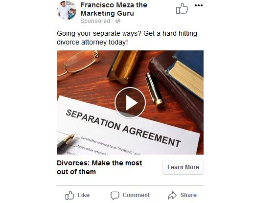 Ad preview for divorce attorneys