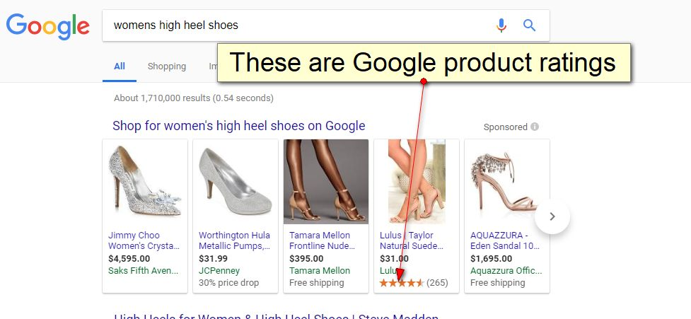 Google product ratings on Google Shopping