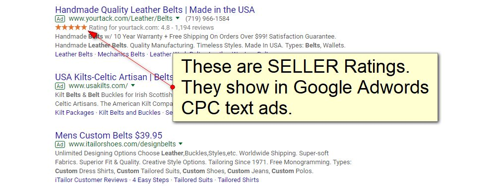 Another example of Seller Ratings on Google