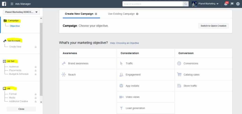 There are 4 basic steps to the creation of a Facebook Ad
