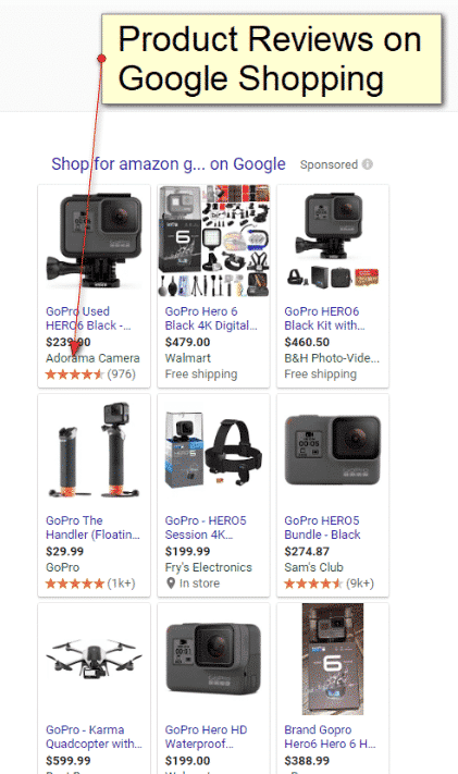 An example of Product Ratings in Google Shopping
