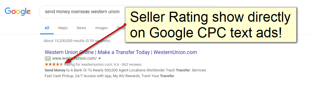 an example of seller ratings