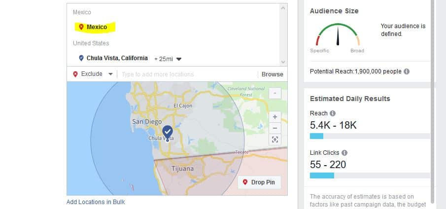 Choosing the location(s) for delivery of your ads