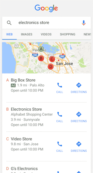 Ads on Google Maps allow people to call your business directly from their mobile devices