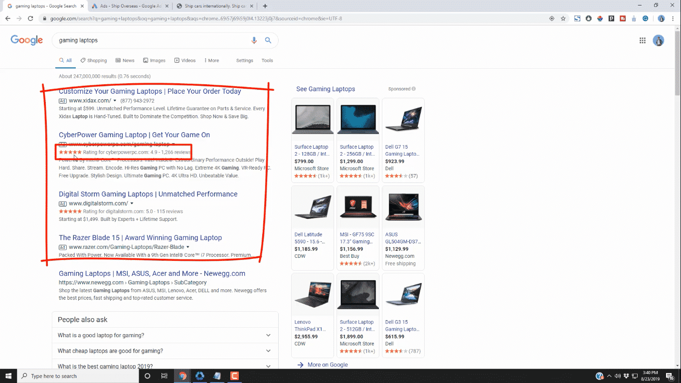 Seller Ratings on Google CPC Text Ads