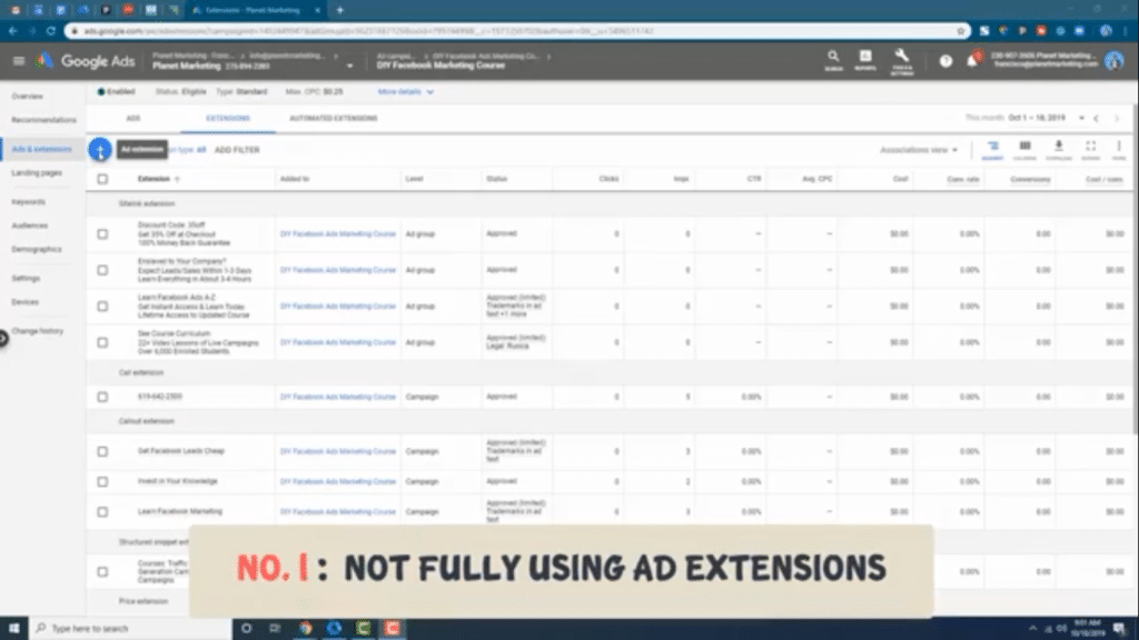 use google ads extensions