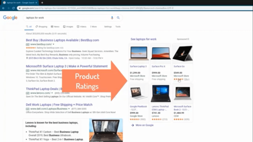 Product ratings example
