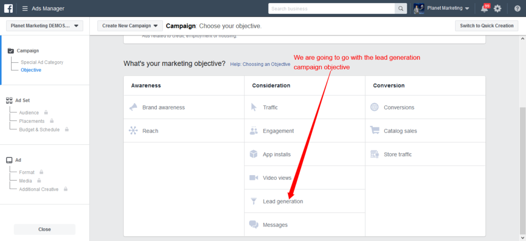 lead generation campaign objective in Facebook