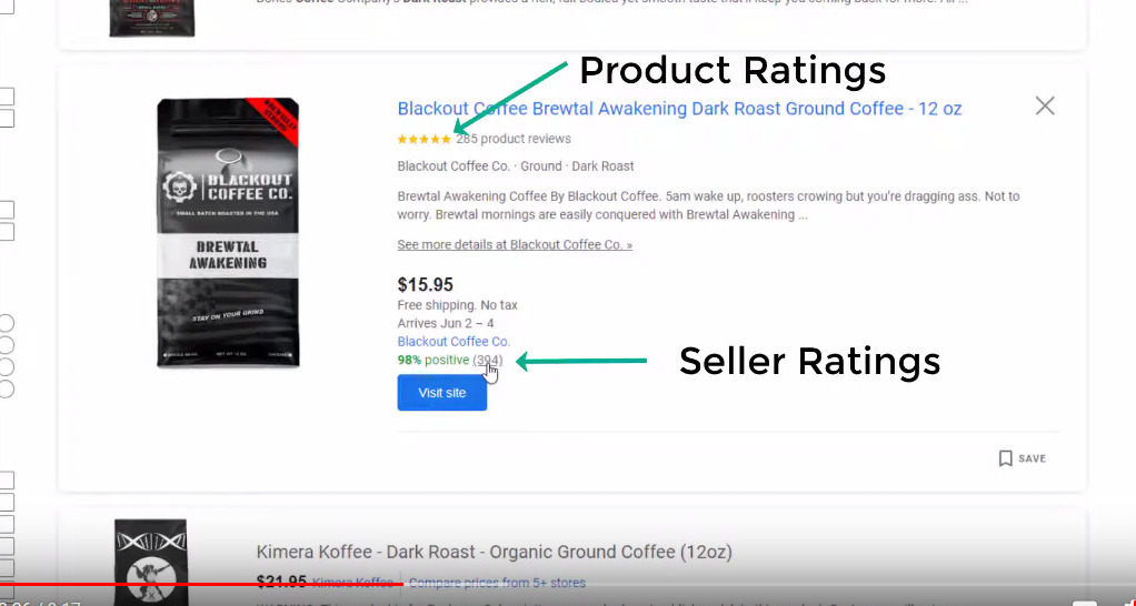 Product Ratings in Google Shopping