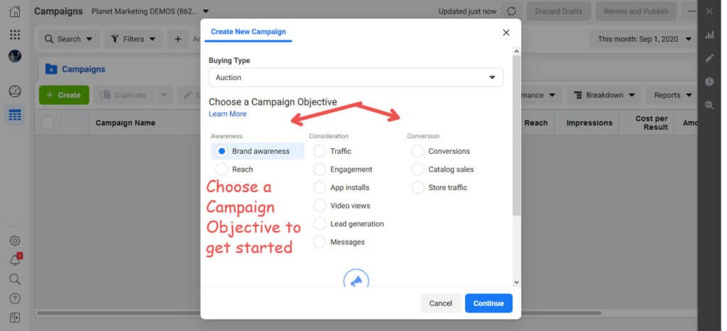 choose a campaign objective for your Facebook Ads for Fashion brands