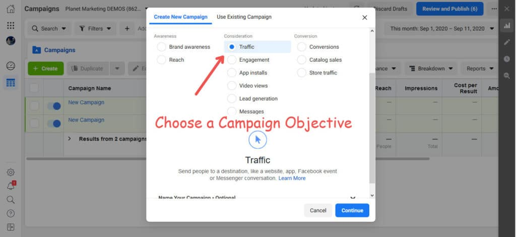 Campaign Objective for Facebook Ads for Amazon products