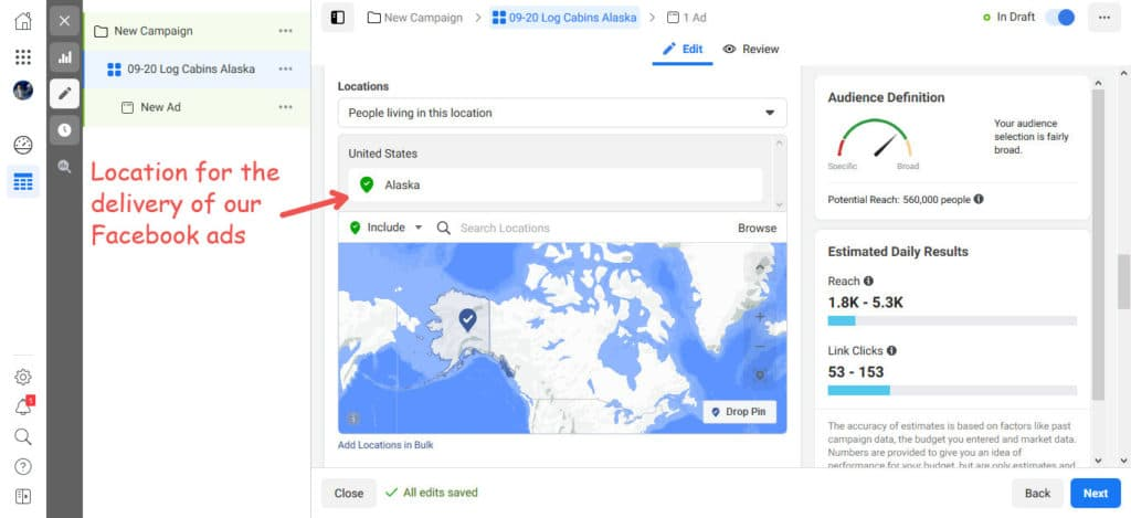Location for delivery of Facebook Ads