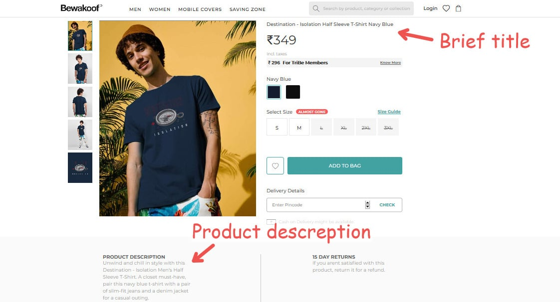 a simple but effective approach to product descriptions and titles