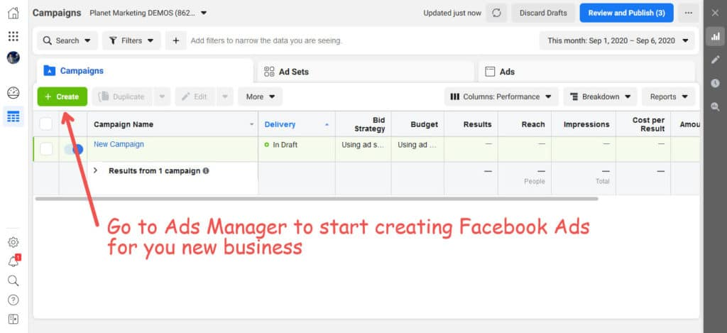 Facebook Ads for new businesses