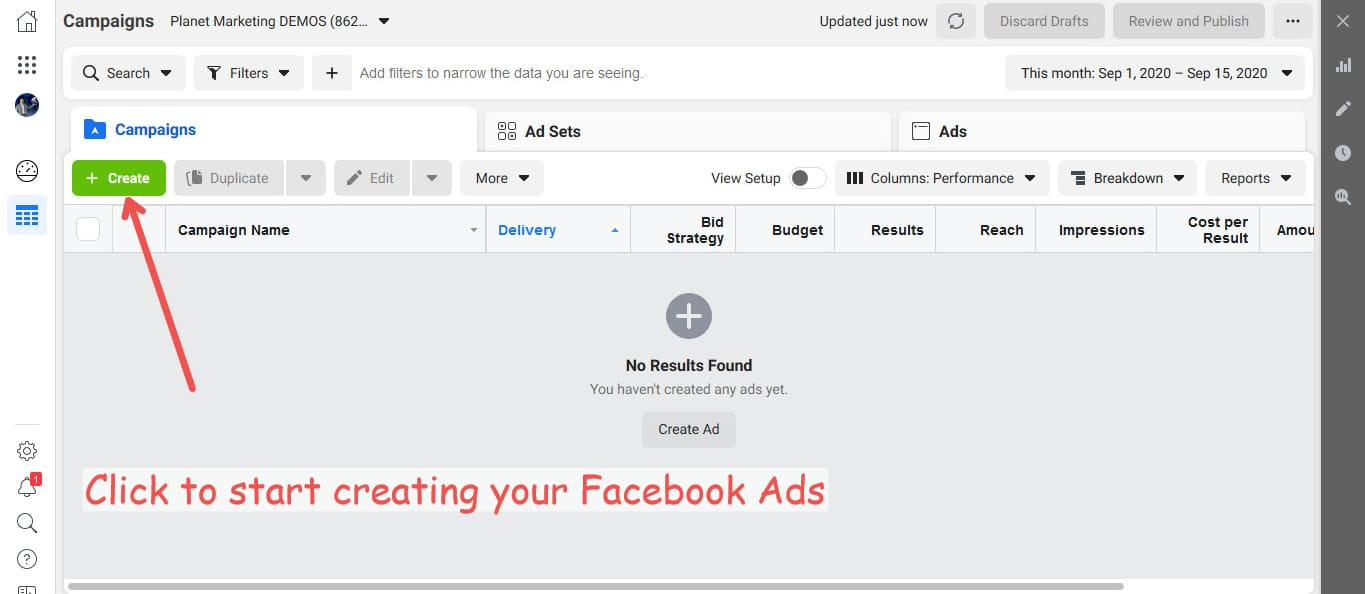 Facebook Ads are created in Ads Manager