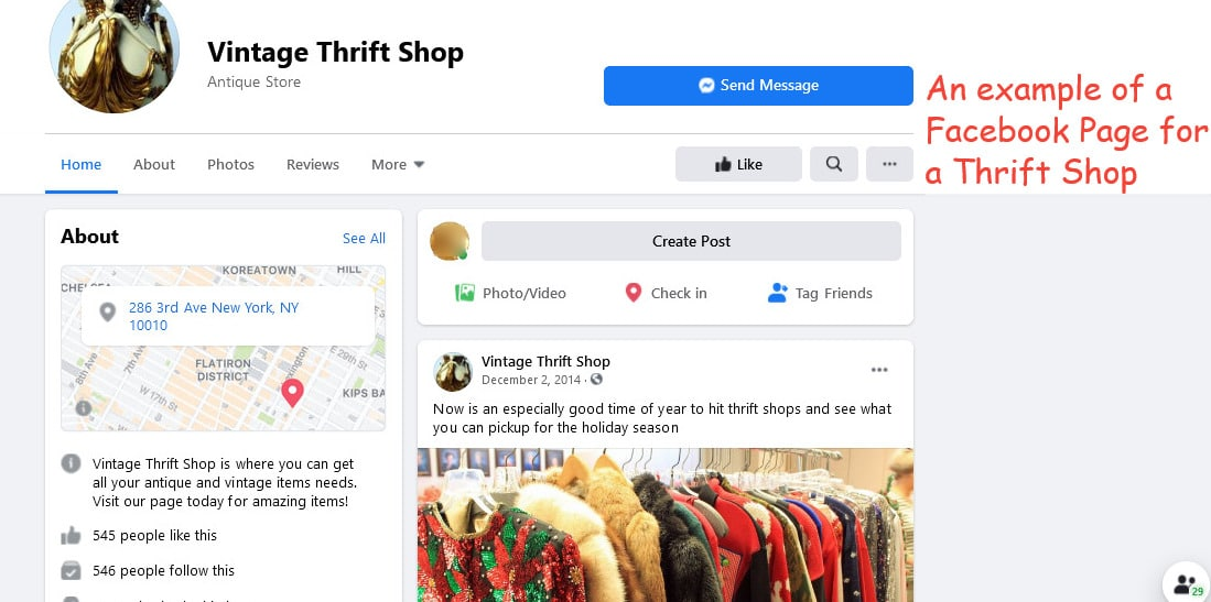 Example of a thrift store Facebook Page