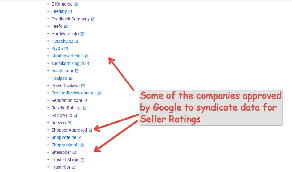 Companies approved for Seller Ratings