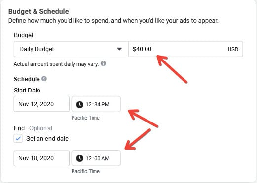 Set a budget for your Facebook Ads