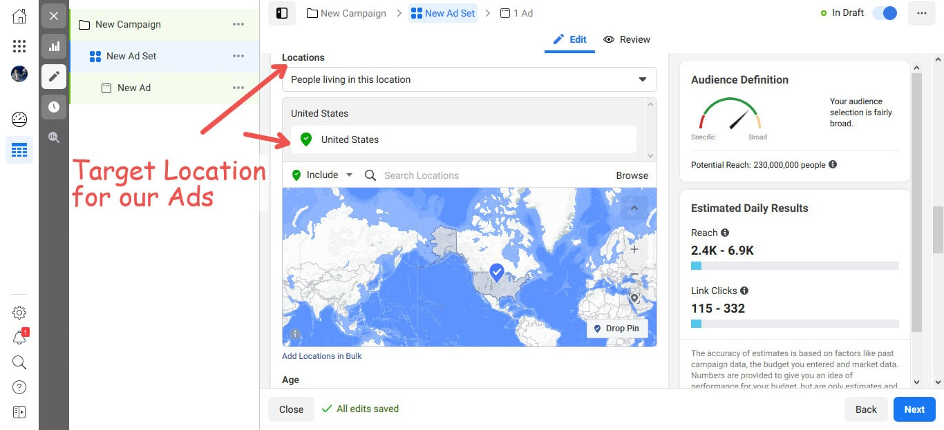 Choose the location(s) for delivery of your Facebook Ads