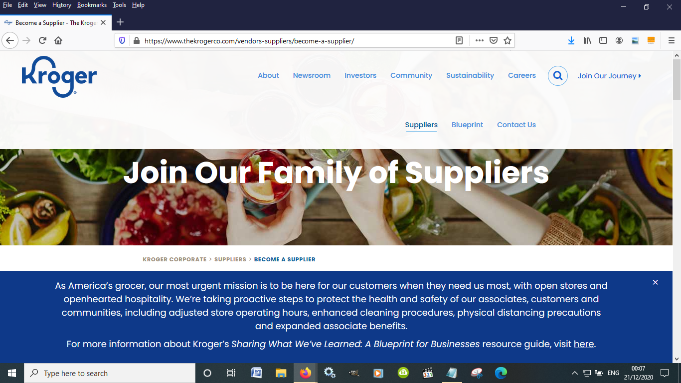 You need to apply to become a Kroger suppler