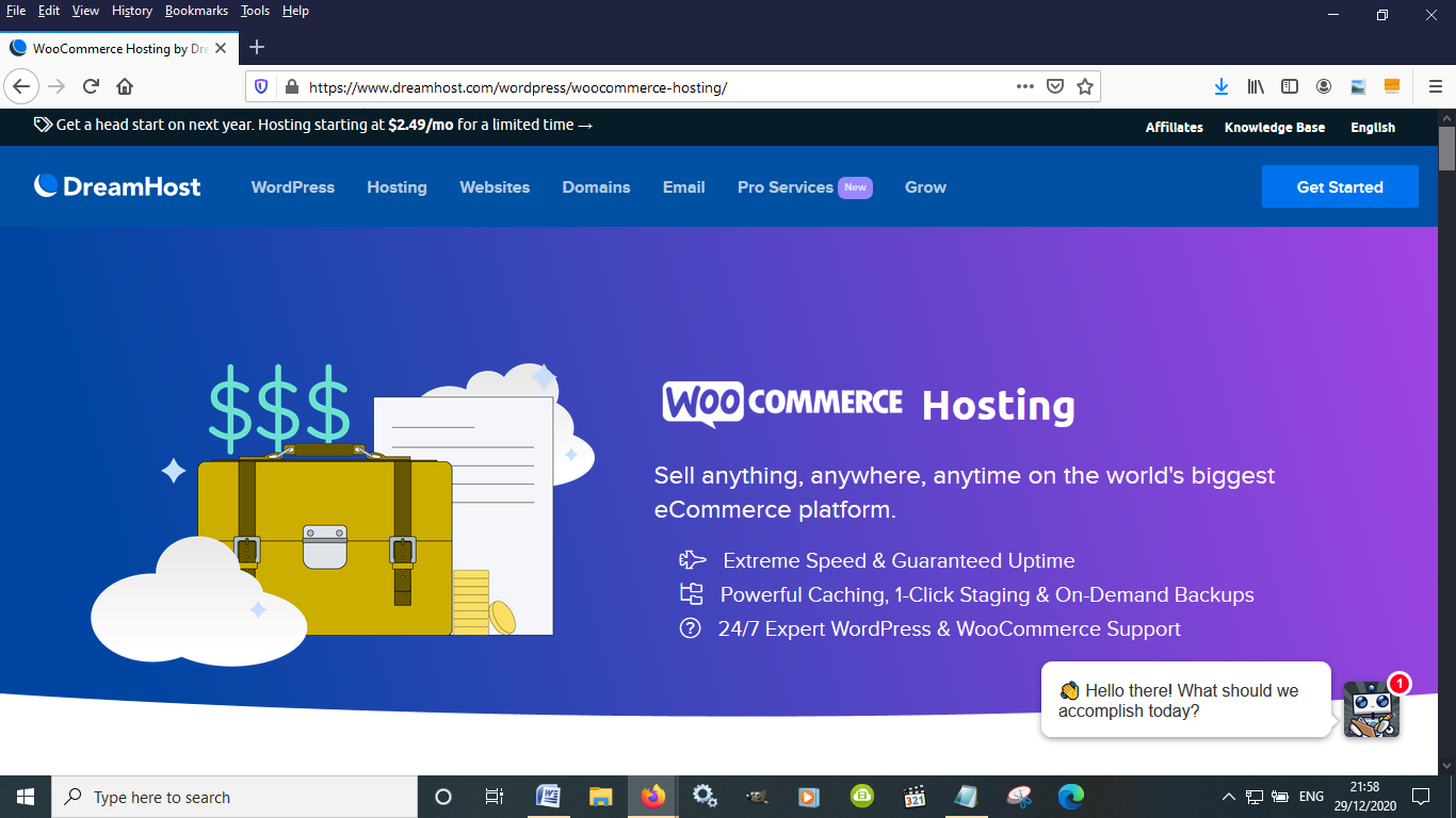 Dreamhost is a good self hosted eCommerce options