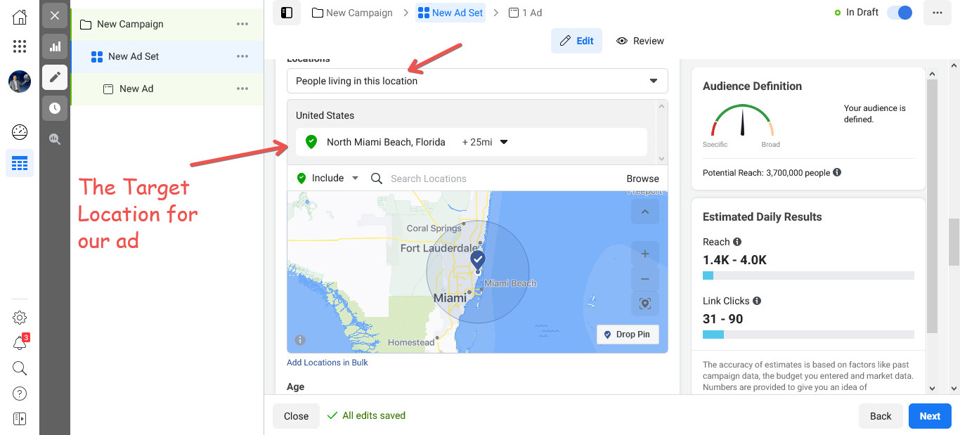 Choose a target location for your ads
