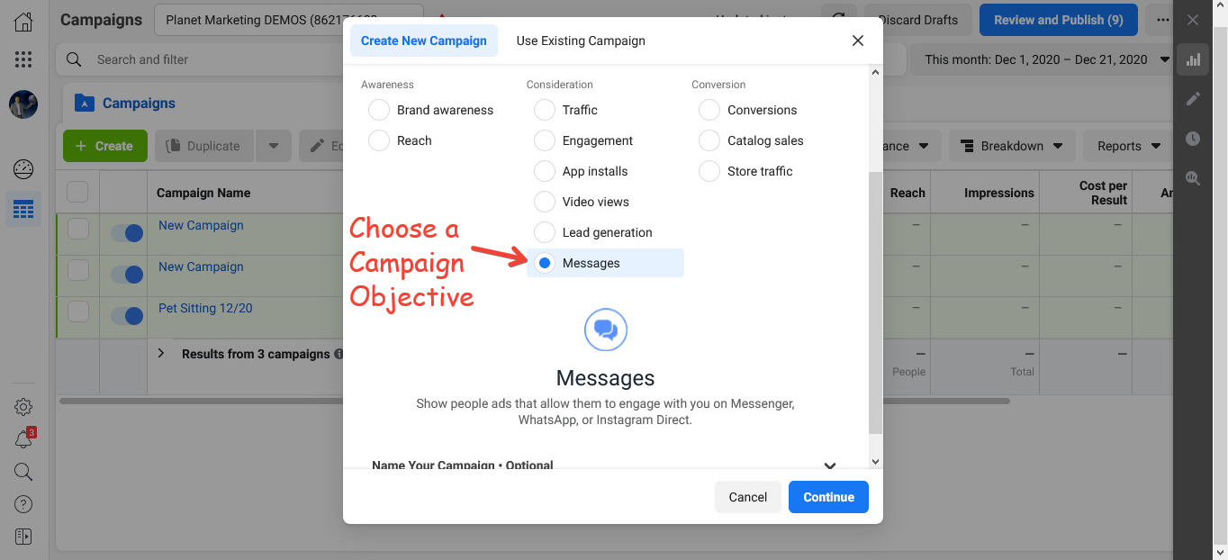 Choose a Campaign Objective for your Facebook Ads for Life Coaches