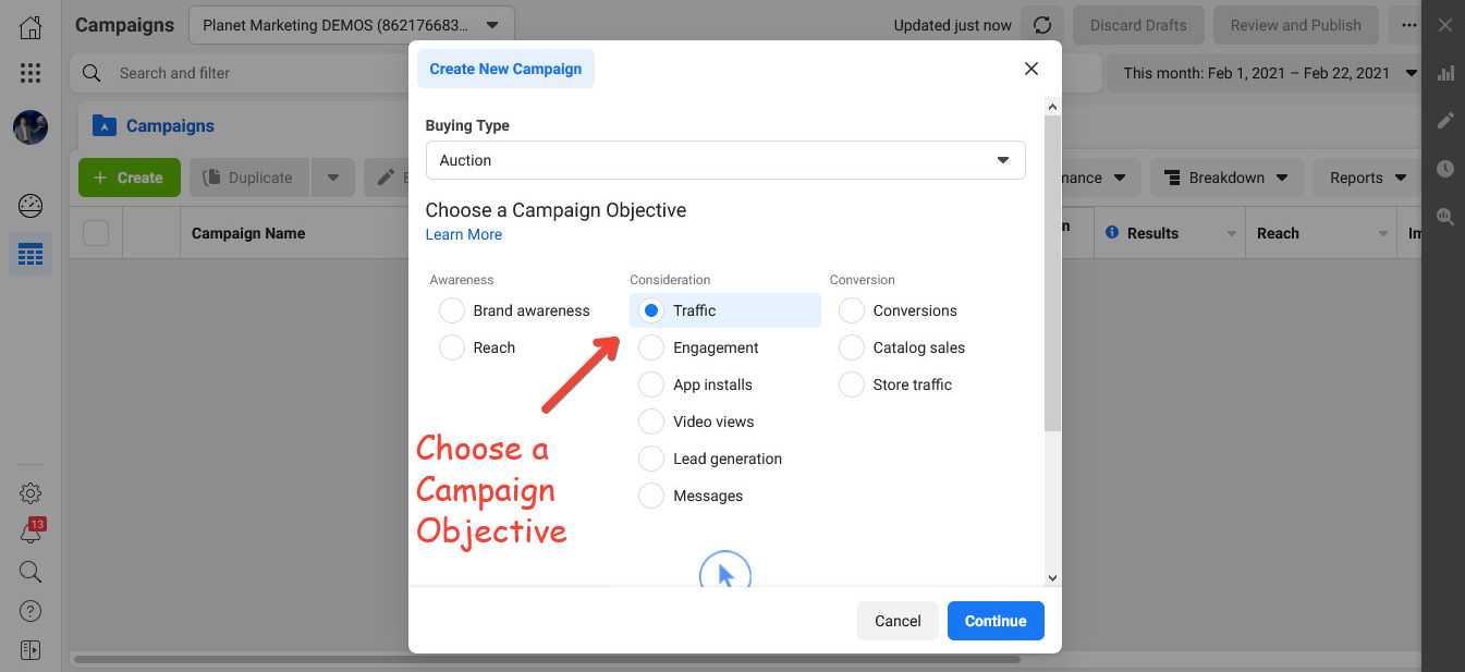 Choose a Campaign Objective for your Facebook Ad