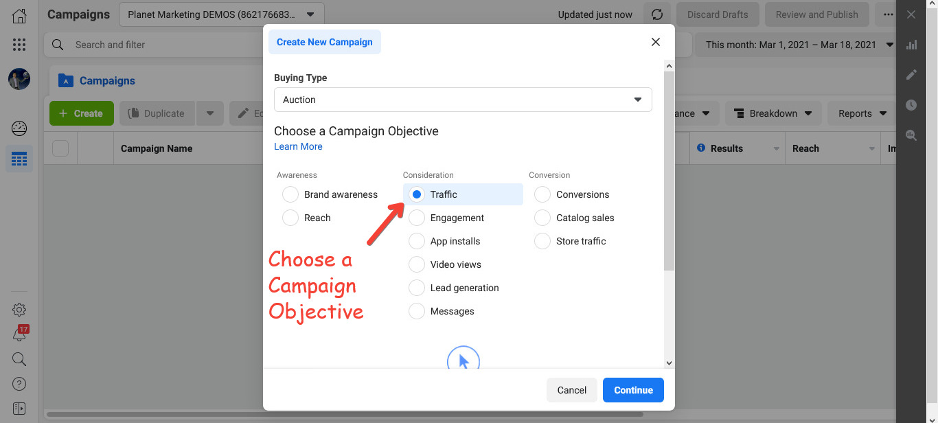Choose a Campaign Objective suitable for your business and goals