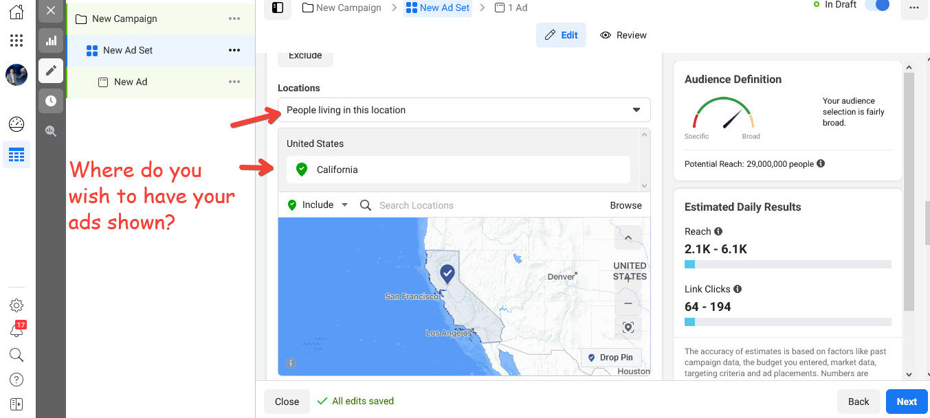 Choose a location for the delivery of your Facebook Ads