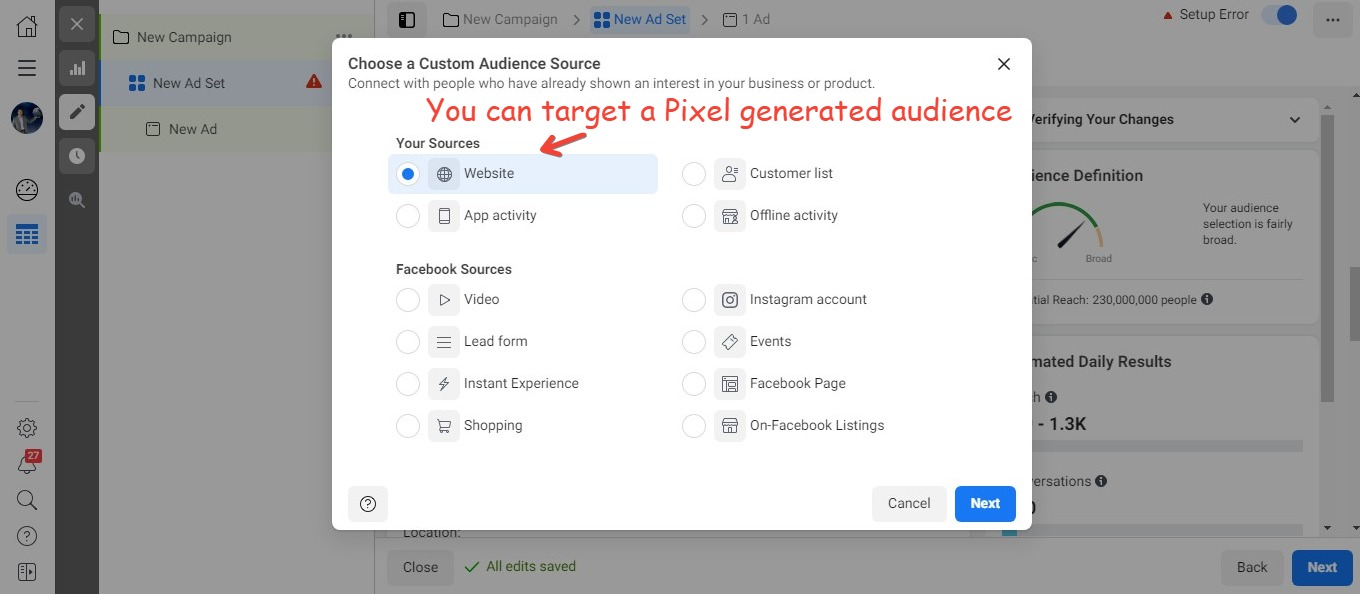 You can target a pixel generated audience