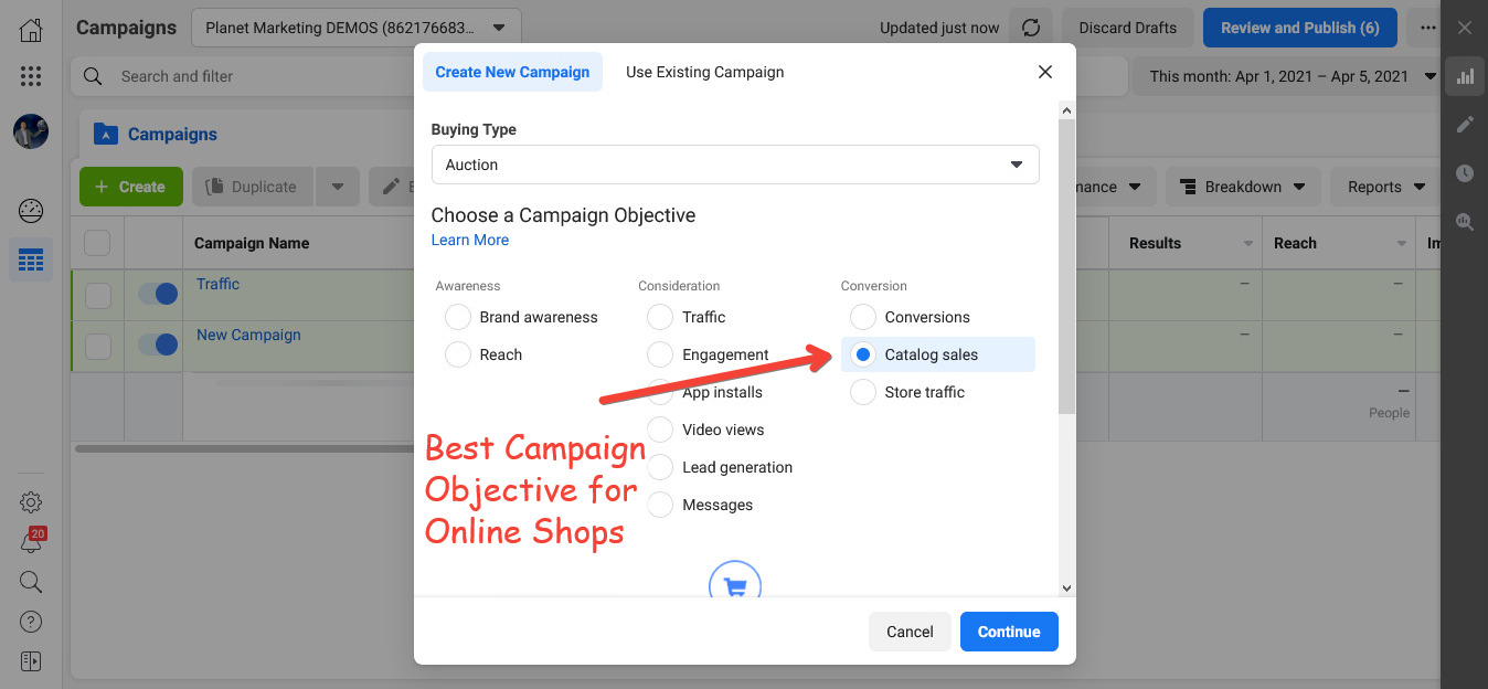 Best Facebook Ads Campaign Objective for Online Stores
