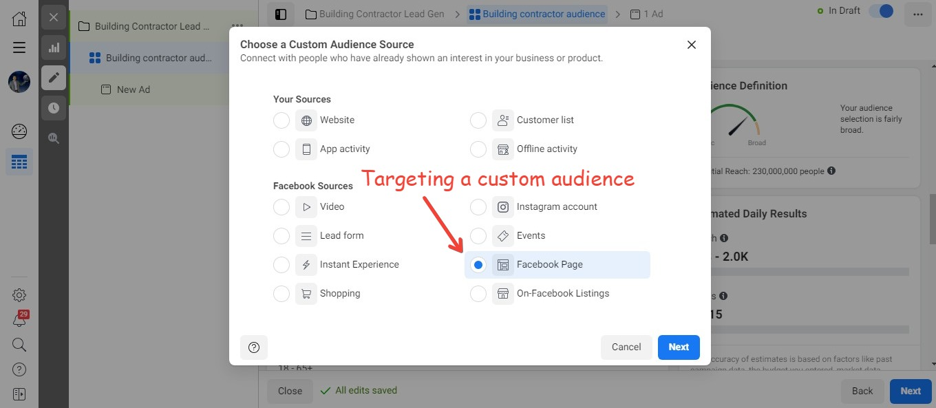You can target a custom audience