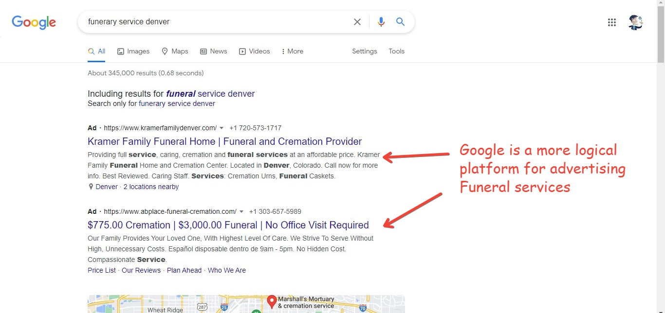 Funeral service ads on Google