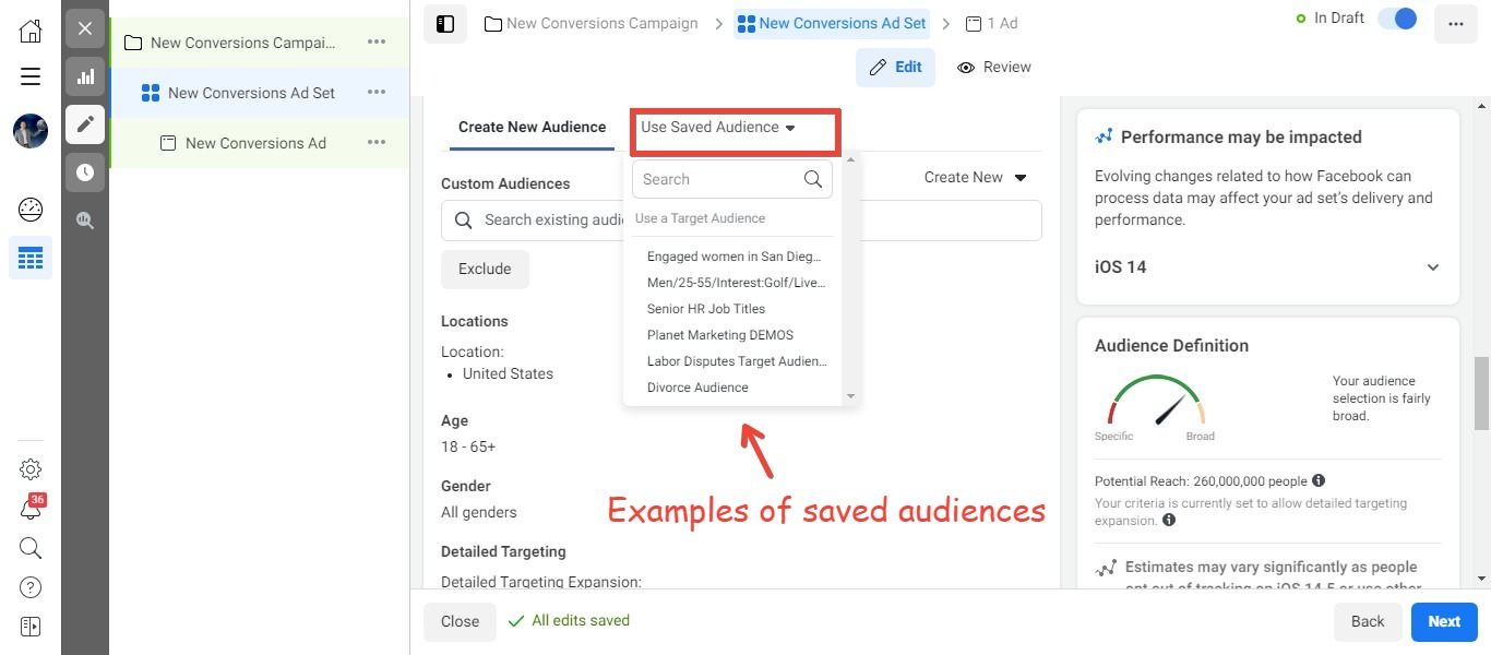 Examples of saved audiences