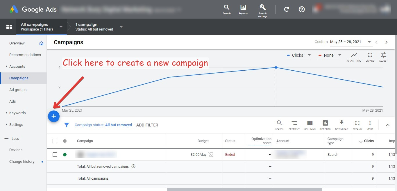 Create a new campaign for you Google Ads for your YouTube channel