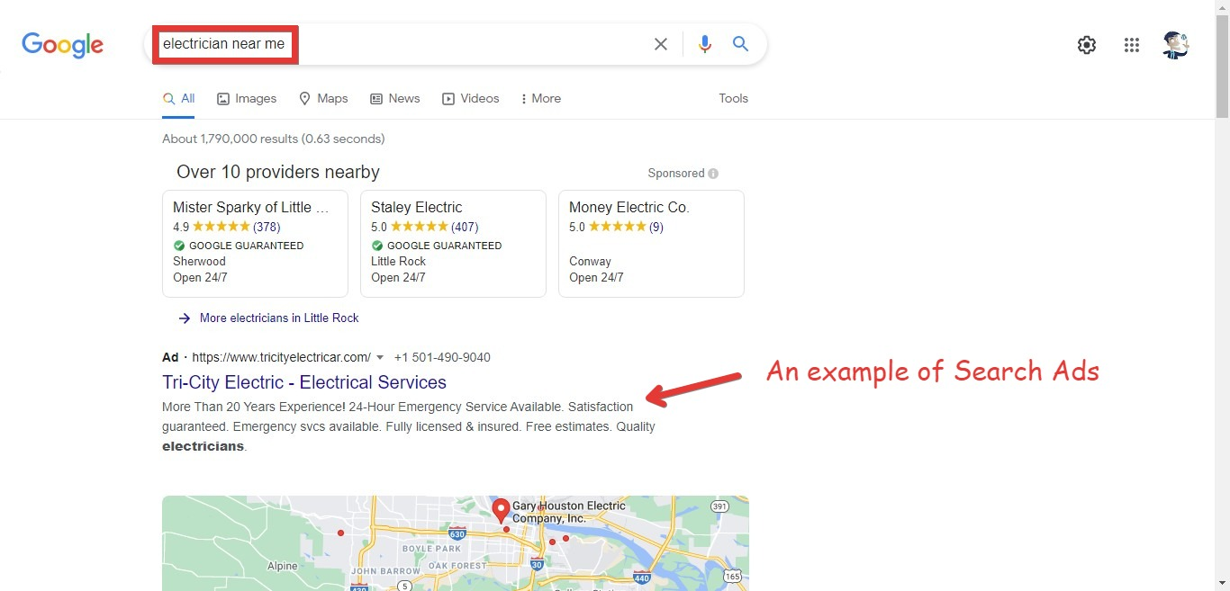 An example of search ads